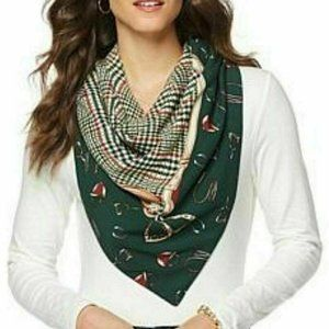 Jeffrey Banks Women's Printed Scarf Equestrian Green NWT Plaid One Size Cute New